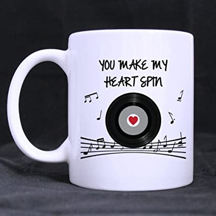 romantic saying you make my heart spin 11oz100 ceramic mug custom coffee