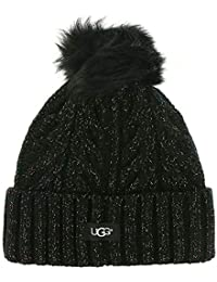 Womens Cable Knit Pom Beanie