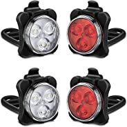 USB Rechargeable Bike Light Set,Super Bright Front Headlight and Free Rear LED Bicycle Light,2000mah Lithium B
