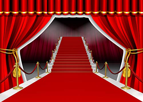 Red Carpet Curtain Backdrop for Photography 7x5ft Hollywood-Themed Birthday Party Background Baby Shower Decorations HXVV053]()