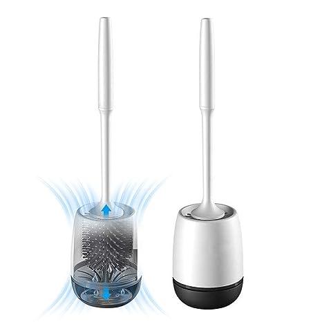 grau wei/ß rund SAVEGA/® WC-Garnitur 2 in 1 mit Microfasertuch Klob/ürste Toilettenb/ürste Designer WC-B/ürste mit Halter