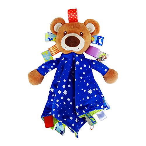 StoHua Baby Taggy Blanket Security Blanket for Toddlers with Tags Taggies Travel Comforter Blanket Stuffed Animal Plush Bear Toy Blue