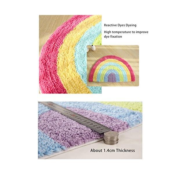 Habudda Soft Cotton Cute Kids Nursery Door Mat Area Rugs Rainbow Door Mat Luxury Plush Kids Game Play Carpet Door Bath Rugs Baby Shower Gift 80CM50CM (Rainbow)