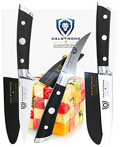 "DALSTRONG Paring Knife Set Gladiator Series Sheaths 3.75"" Sheep's Foot 2.75"" Bird's Beak 3.5"" Serrated Pakkawood Handle"