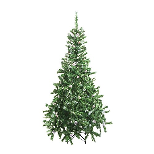 ALEKO CT71H11 Luscious 6 Feet Christmas Tree With White Tips and Snow Covered Pine Cones Artificial Holiday Pine Tree Indoor Holiday (Snow Pinecones)