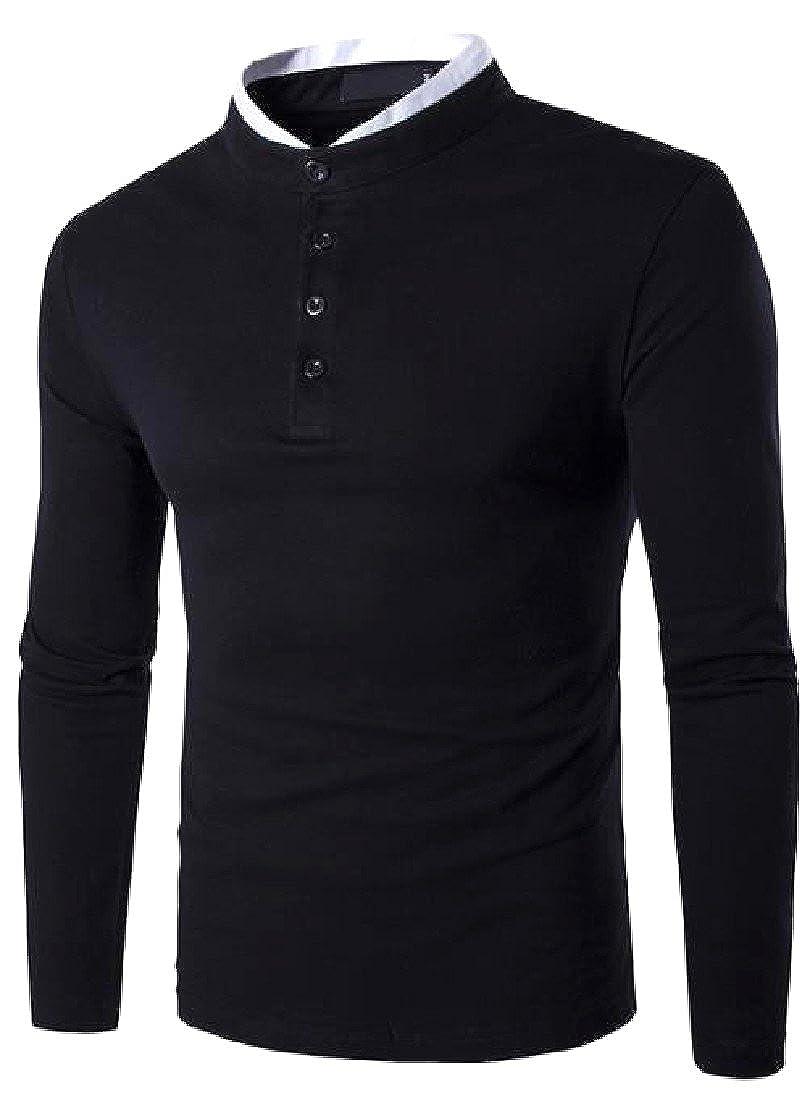 Honey GD Men Funky Fall Winter Mandarin Collar Casual Leisure T-Shirt