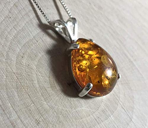 Amber Freeshaped Teardrop Pendant Necklace 925 Sterling Silver
