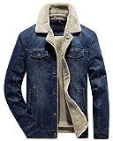 chouyatou Men's Classic Button Front Rugged Sherpa Lined Denim Trucker Jackets (Small, Dark Blue)