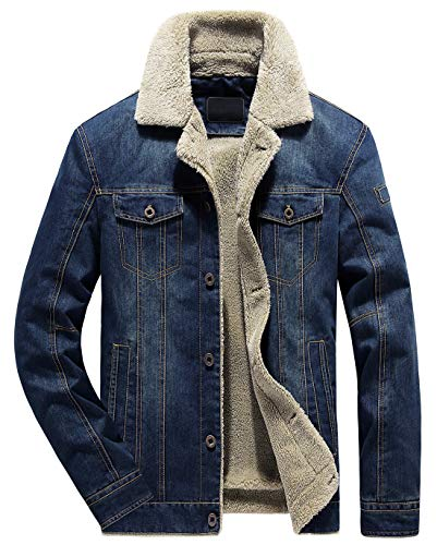 chouyatou Men's Classic Button Front Rugged Sherpa Lined Denim Trucker Jackets (Medium, Dark Blue) (Fur Button Jacket Front)