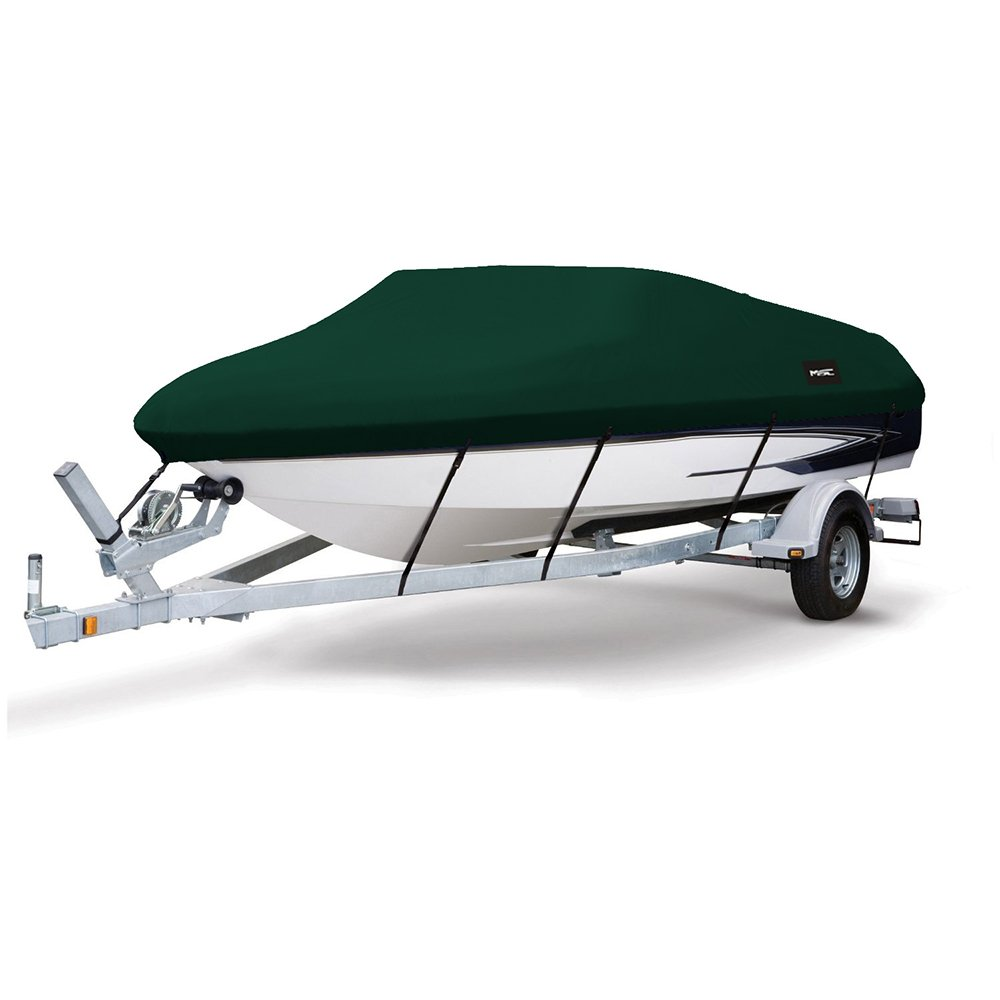 MSC Heavy Duty 600D Marine Grade Polyester Canvas Trailerable Waterproof Boat Cover,Fits V-Hull,Tri-Hull, Runabout Boat Cover (Forest Green, Model A - Length:14'-16' Beam Width: up to 68'')