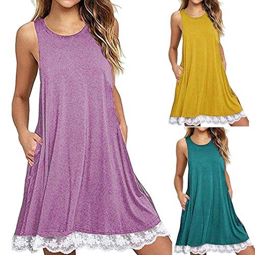 Damen Kleid Huhu833 Damen OAnsatz beiläufige Spitze Sleeveless über ...