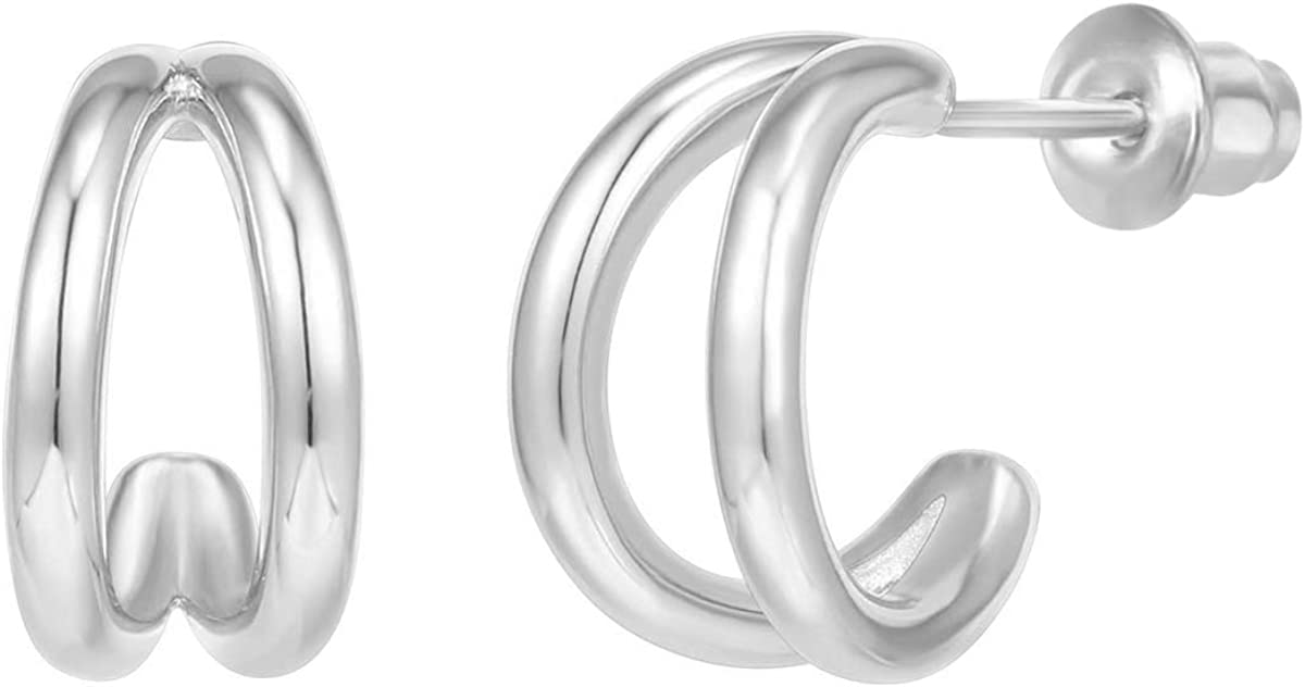PAVOI 14K Gold Plated Sterling Silver Split Hoop Huggie Earrings in Rose Gold, White Gold and Yellow Gold