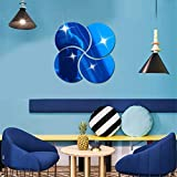 Personality Fashion Interior Mirror/Acrylic Mirror Wall Sticker Clover Round Decoration 3D Creative Home DIY Sticker,Blue