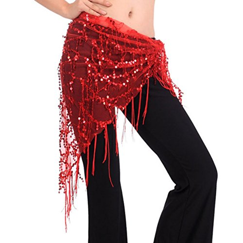 ETOSELL Mesh Triangle Beads Wrap Dangling Sequin Tassles Belly Dance Hip Scarf (Sequin Triangle)