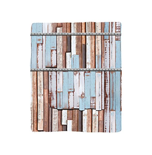 VROSELV Custom Blanket Rustic Long Wooden Planks Tree Designs on with Rusty Metal Screws Artwork Bedroom Living Room Dorm Brown White and (Plank Park Lift)