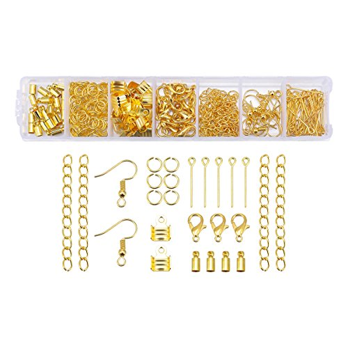 1Set Jewelry Making Kit with Eye Pins Open Jump Rings Lobster Claw Clasps Earring Hooks Cord Bead Cap Connectors Chain Extension Tails Gold