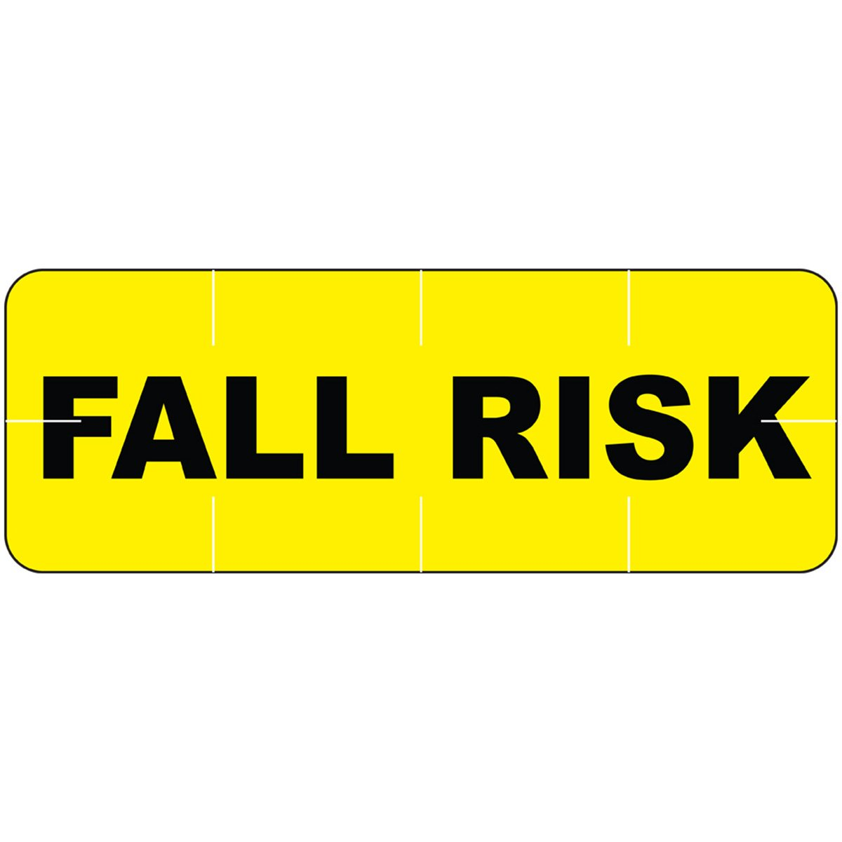 ALERT BANDS 59713051 Label Poly''FALL RISK'' Pre-Printed, State Standardization, 11/16'' x 1/4'', Yellow (Pack of 250)