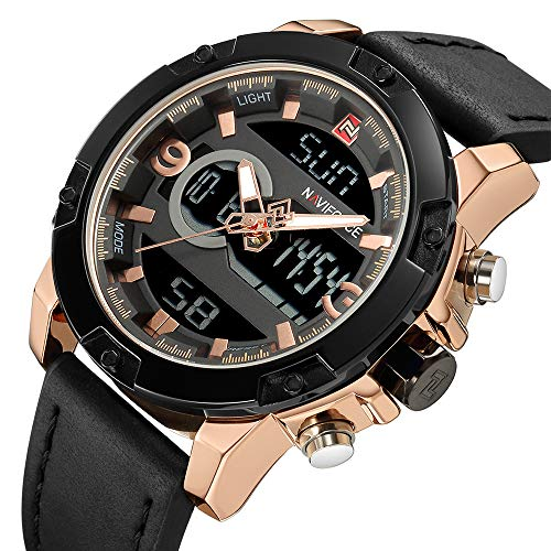 NAVIFORCE Men's Luxury Analog Digital Wristwatch Black Leather Strap Waterproof Quartz Watch ...