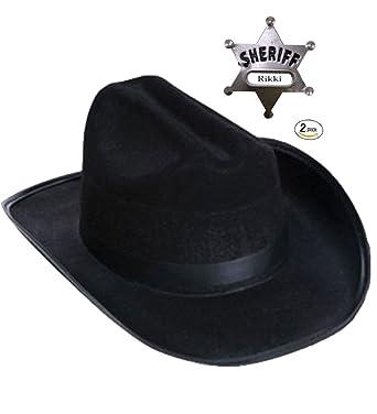 0548a74e738 Children s Cowboy Set- Black Child s Cowboy Hat with Sheriff Badge   Amazon.co.uk  Clothing
