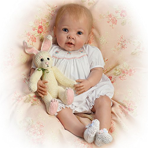 (The Ashton-Drake Galleries Linda Murray Bunny Hugs Lifelike Poseable Baby Girl Doll With Bunny Friend)