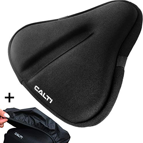 Large Bike Seat Cushion Gel Padded Cover - Bicycle Wide Soft Saddle Pad | 10x11in | with Waterproof Cover - Exercise Stationary Spin Bike Road Mountain Cruiser Bike Used for Indoor | Gym - Men & Women