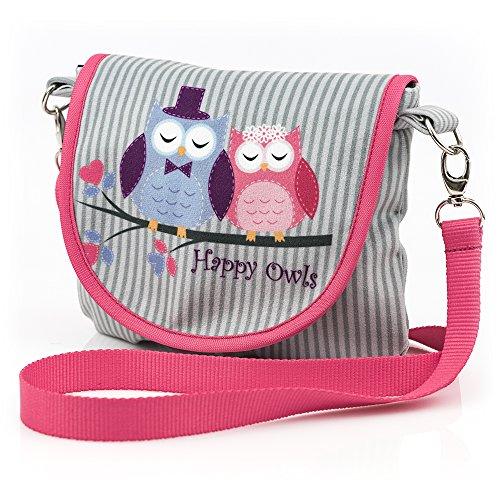 Gufi Happy Owls Collection Rosa Grigio Piccola Borsa per Una Ragazza unesclusiva Collezione in Edizione Limitata 2018
