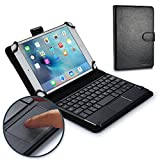 7 inch windows tablet - 7 - 8'' inch tablet keyboard case, COOPER TOUCHPAD EXECUTIVE 2-in-1 Wireless Bluetooth Keyboard Mouse Leather Travel Windows Android Carrying Cases Cover Holder Folio Portfolio + Stand (Black)