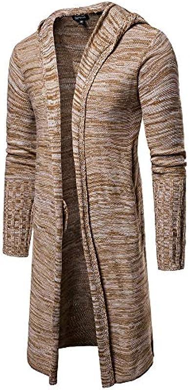 Dragon868 męski długi kardigan luźny dziergany modny płaszcz kurtka płaszcz zimowy outwear: Odzież