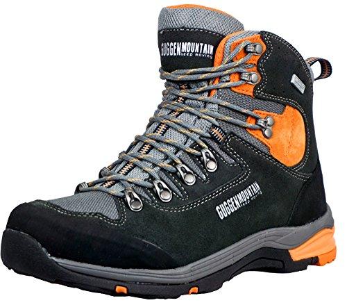 Trekking arancio Guggen Scarpe Da Membrana Mountain Con Uomo Pelle Pm026 Nero Passeggio Pattini Impermeabile E Esterni Scamosciata r1qaIx1wE