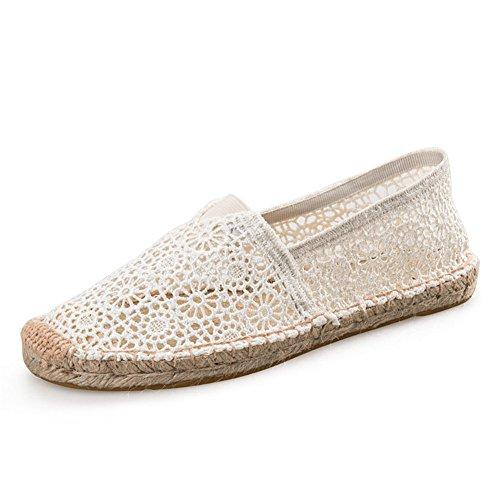 Highdas Damen Espadrilles Hollow Atmungsaktiv Freizeitschuhe Flats Leinwand Schuhe 2#