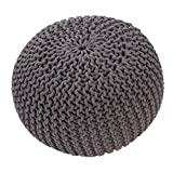 Jaipur Solid Pattern Gray Cotton Pouf, 20-Inch x 20-Inch x 14-Inch, Steele Spectrum