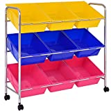 Kids Colorful Toy Bin Cart Shelf Children Storage Box w/ 9 Plastic Drawer Ebook