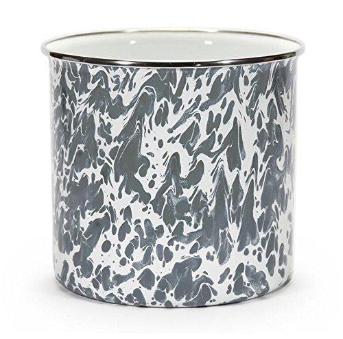 Kitchen Utensil Holder Crock Kitchen Storage Organization Containers Gray Swirl Enamelware 6'' Set of 2