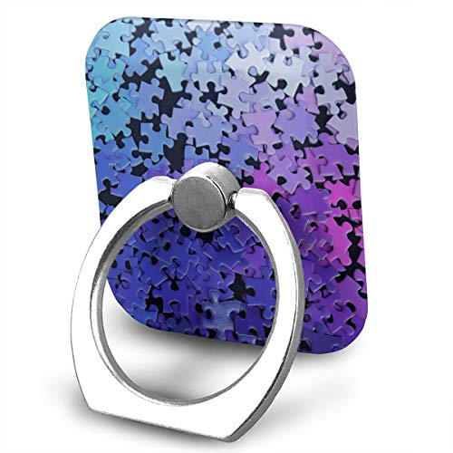 Square Finger Ring Stand 360°Rotation Phone Holder Grip Jigsaw Puzzle Blue Purple Kickstand for Smartphones and Ipad
