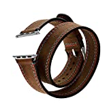 Elobeth for Apple Watch Band,iWatch band Genuine Leather Double Tour Watch Strap Wrist Band Replacement Clasp for Apple Watch & Sport & Edition(Double Tour Double Line 42mm)