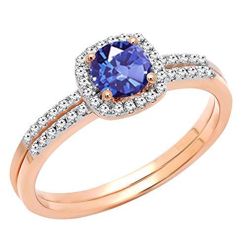 (Dazzlingrock Collection 10K 5 MM Round Tanzanite & Diamond Bridal Halo Engagement Ring Set, Rose Gold, Size 9)