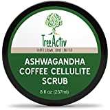 TreeActiv Ashwagandha Coffee Cellulite Scrub | Anti Cellulite Treatment | Natural Cellulite Remover from Legs and Body | Caffeine, Juniper Berry and Pink Grapefruit Essential Oil, Cocoa Bioferment 8oz