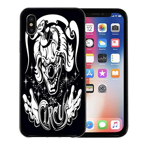 Semtomn Phone Case for Apple iPhone Xs case,Evil Scary Clown Head His Hands and Old Inscription Circus Horror Film Character Joker for iPhone X Case,Rubber Border Protective Case,Black ()