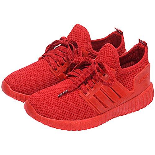 AiSi Damen/Mädchen Sportschuhe Runners Sneakers Laufschuhe Turnschuhe Straßenlaufschuhe - Atmungsaktives Mesh - Rot Größe 35 36 37 38 39 40 Rot