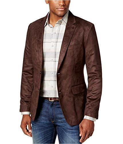 Tasso Elba Mens Microsuede Two Button Blazer Jacket Brown 2XL