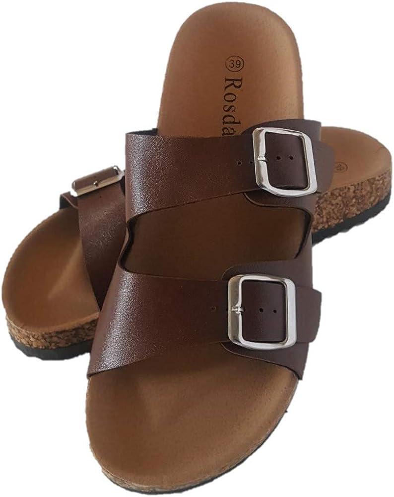 Rosdan Womens Cork Sandals Clog Flip Flop Slip on Slides Flat Cork Womens Sandals Ultra Comfort Platforms Soft Contoured Suede Footbed 2 Strap Adjustable Buckle Faux Leather Straps