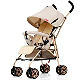 QXMEI Baby Stroller Ultra-Light Can Sit And Recline Fold Shock Absorber Push The Umbrella Stroller Baby Child Stroller,B-Brown