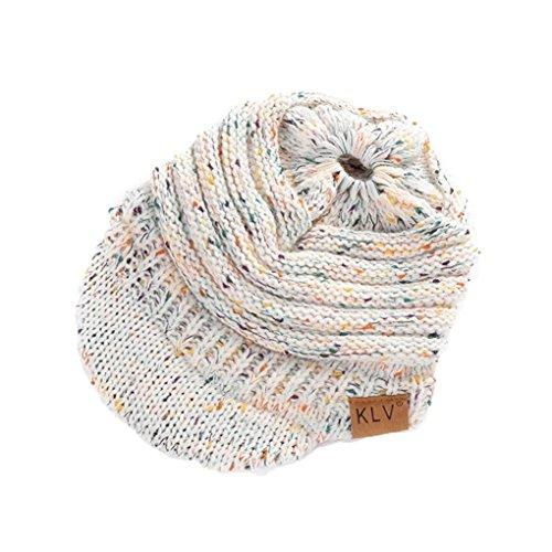 SUKEQ Women Winter Knit Messy High Bun Ponytail Hat with Visor Brim 92c0a5d927ec