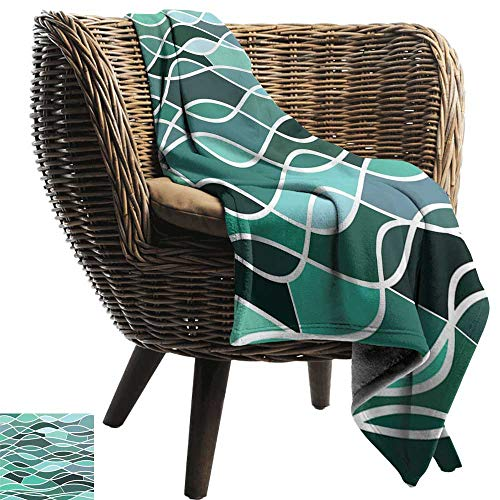 Sillgt Family Blanket Seafoam Stained Glass Pattern with Wavy Lines and Mosaic Abstract Geometric Composition Throw Blanket Adult Blanket 72