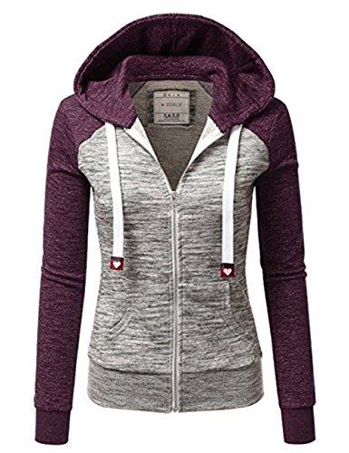 Qingxian Veste Femme, Manteau  Capuche Sweatshirt Sport Manteau Hoodie Zipp Dcontract Doux Hooded aux Manches Longues Violet