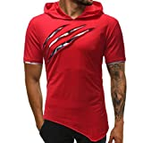iOPQO T-Shirt for Men, Personality Pure Color Parka Sports Shirt Top Blouse