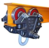 Jervis Webb Beam Trolley With Side Guide Rollers. Heavy Duty 3/4 Ton 1,500 Pounds Capacity. Industrial Grade Conveyor Trolley for I-Beams and Chain Hoists