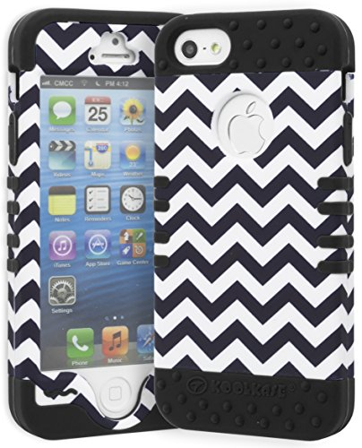 iPhone 5 Case, Bastex Heavy Duty Protective Case - Soft Black Silicone Cover with Dark Blue and White Chevron Design Hard Case for Apple iPhone 5, 5S, 5G