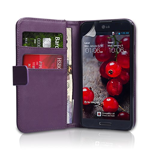 YouSave Wallet Case for LG Optimus G Pro Purple Faux Leather [LG-FA01-Z341]