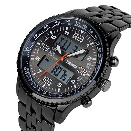 USWAT Men Outdoor Sports Watch Fashion Casual Dress Led Analog-Digital Wristwatch 3ATM Waterproof Full Steel Military Watches